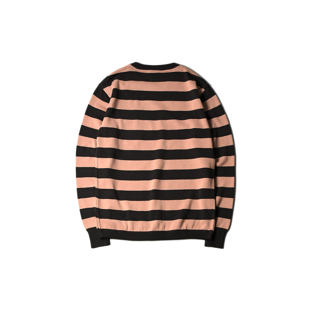 May club -【WESTRIDE】CLASSIC RIB BORDER L/S SWEATER - BRN/ROSE
