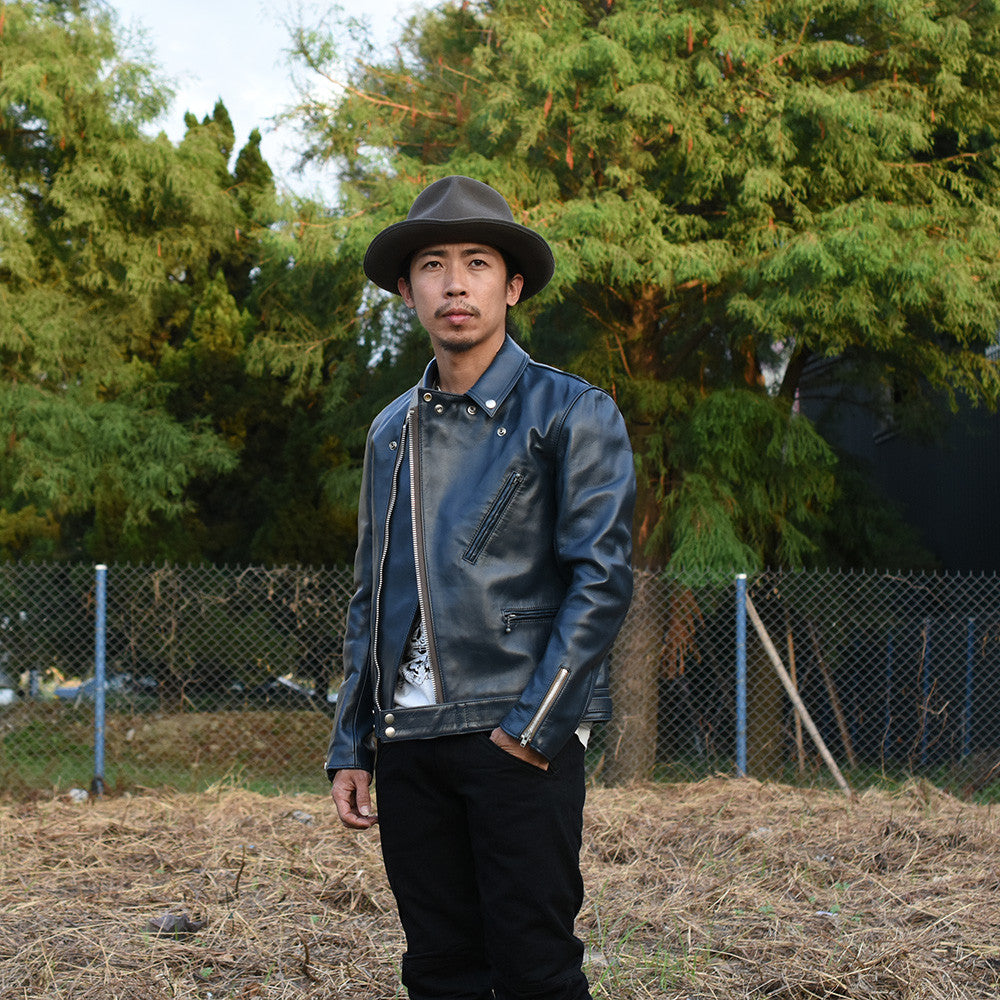 May club -【Addict Clothes】AD-03 Horsehide British Asymmetry Jacket - Dark Blue
