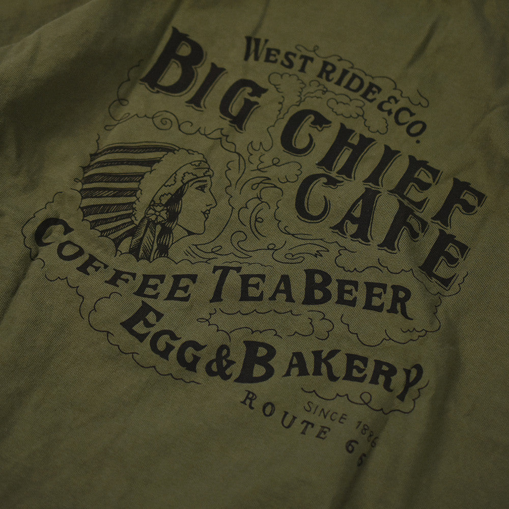 "May club -【WESTRIDE】""BIG CHIEF CAFE"" TEE - DEEP OLIVE"