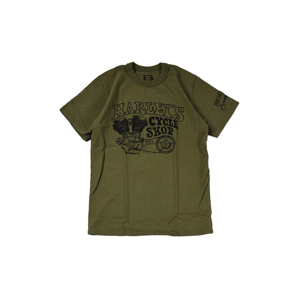 "May club -【WESTRIDE】""HARLEY'S CYCLE SHOP"" TEE - DEEP OLIVE"