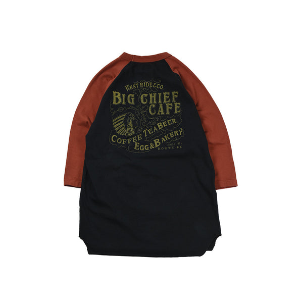"""BIG CHIEF CAFE"" UNDER TEE  - RED / BLACK"