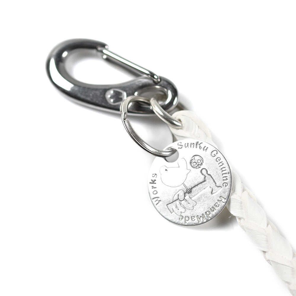 May club -【SunKu】DEER LEATHER KEY STRAP- WHITE