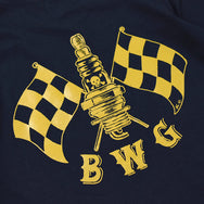 "May club -【B.W.G JAPAN】B.W.G x MAGICAL DESIGN ""CHECKER SPARK"" TEE - NAVY"