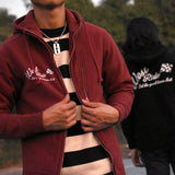 May club -【WESTRIDE】HEAVY WEIGHT FULL ZIP HOODIE - CHECKER FLAG (CRIMSON)