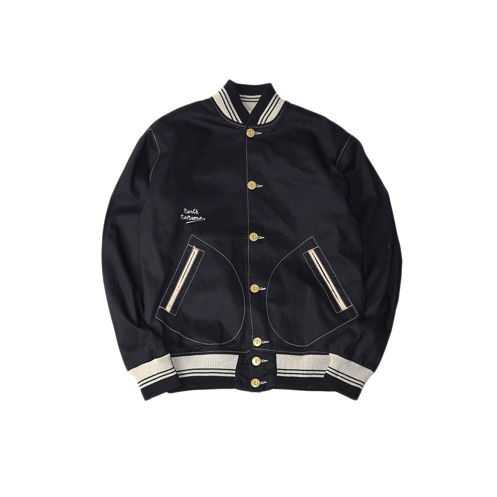 May club -【North No Name】COTTON VARSITY JACKET - BLACK