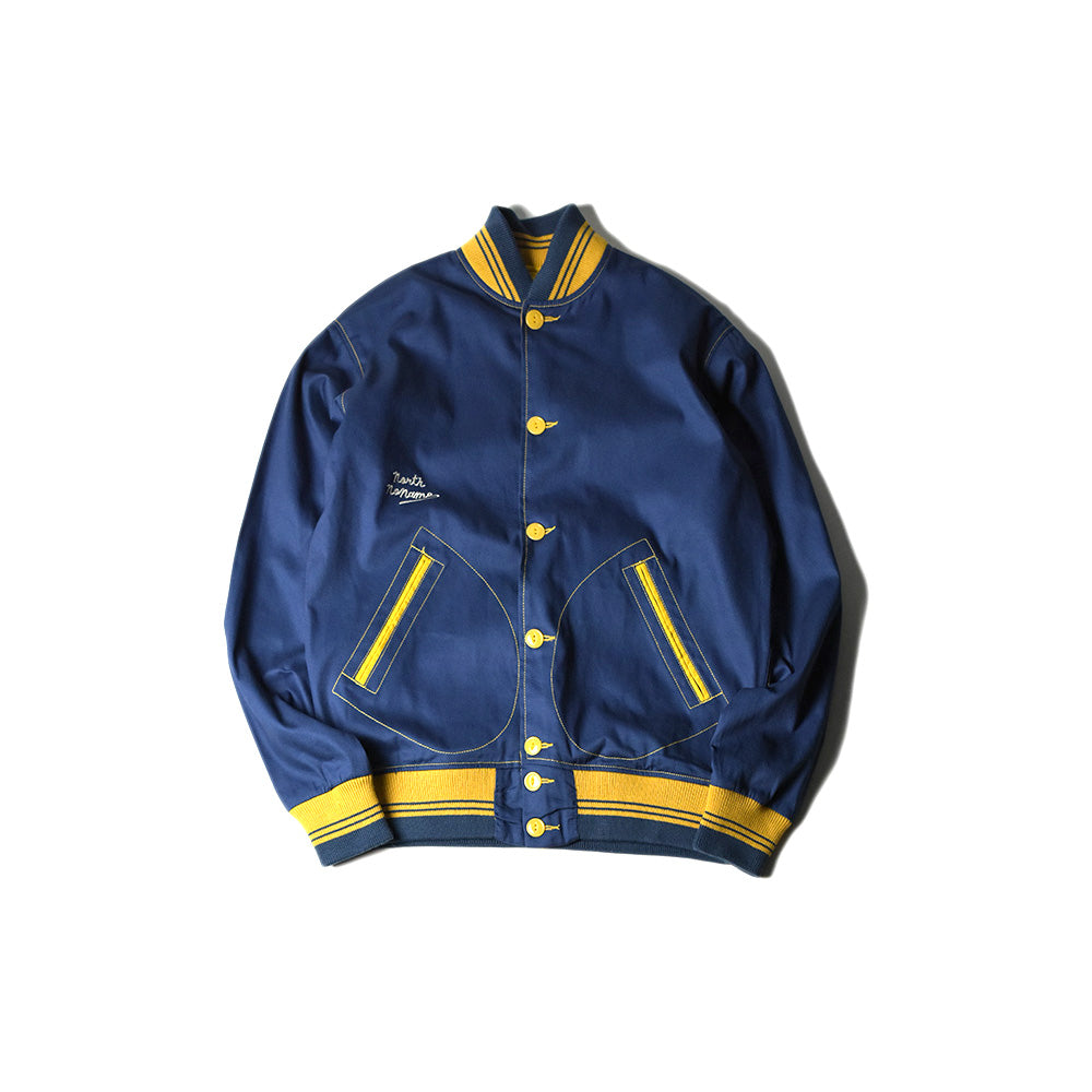 May club -【North No Name】COTTON VARSITY JACKET - BLUE