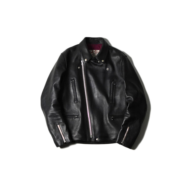 May club -【Addict Clothes】AD-02L SHEEPSKIN DOUBLE RIDERS JACKET - BLACK(茶芯)