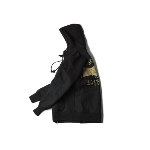 HEAVY WEIGHT FULL ZIP HOODIE - SAVAGES (BLACK)