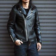 May club -【Addict Clothes】AD-03 Sheepskin British Asymmetry Jacket - Dark Blue(茶芯)