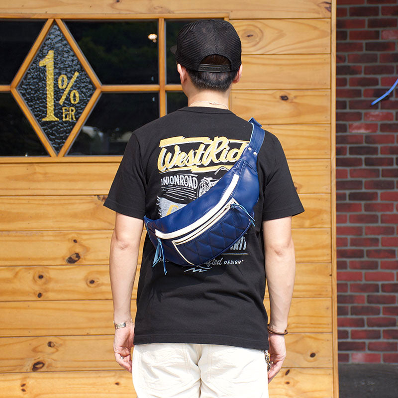 RIDING WAIST BAG - BLUE x CREAM