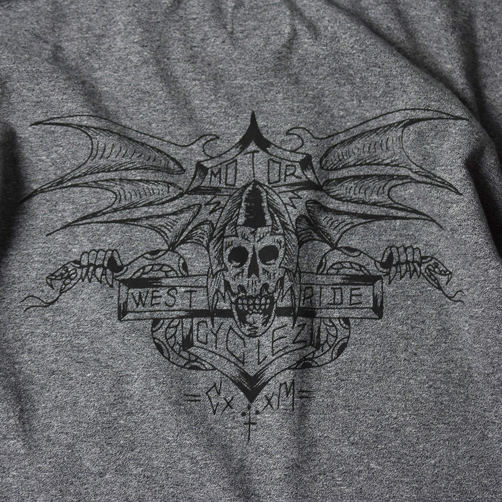 "May club -【WESTRIDE】""DEVIL'S MOTOR OIL"" TEE - GREY"