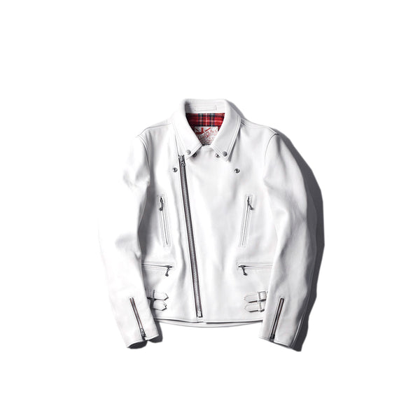 AD-02 Sheepskin Double Riders Jacket - White(茶芯)
