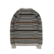 May club -【WESTRIDE】CLASSIC RIB MULTI BORDER L/S SWEATER - BEG/GLD