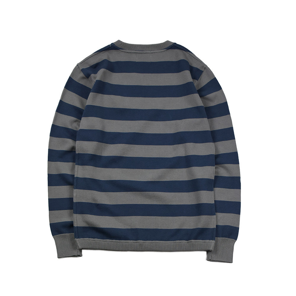 May club -【WESTRIDE】CLASSIC RIB BORDER L/S SWEATER - GRY/BLUE