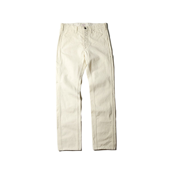 HERRINGBONE PAINTER PANTS - WHITE