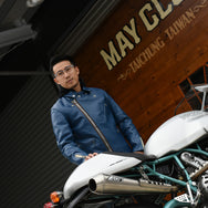 May club -【Addict Clothes】AD-03 Horsehide British Asymmetry Jacket - Vintage Blue