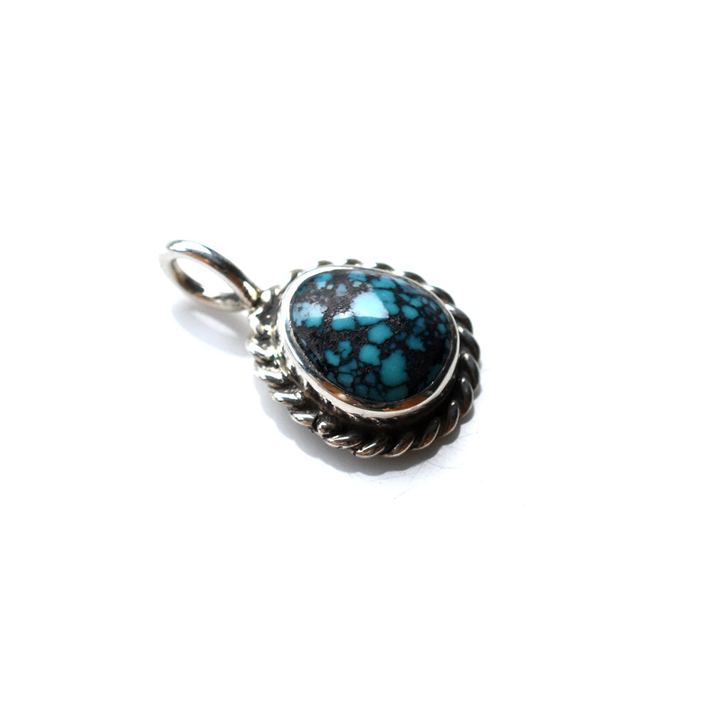 SILVER ROPE TURQUOISE PENDANT