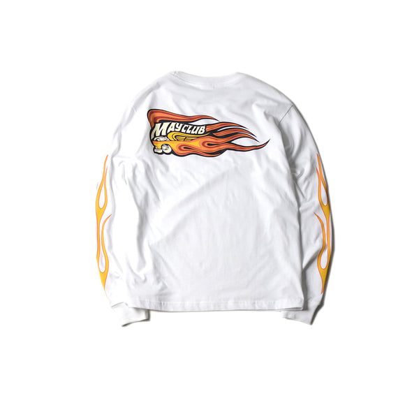 KUSTOM KULTURE L/S TEE - HOT WHEEL FIRE SLEEVE(WHITE)