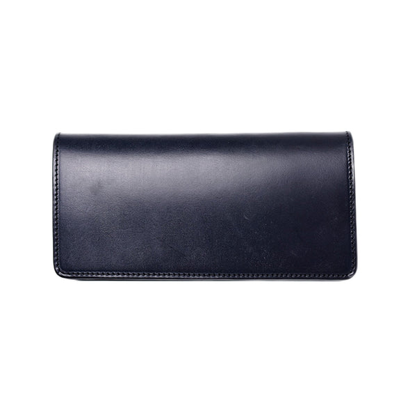 AD-W-01S UK BRIDLE LEATHER LONG WALLET - DARK BLUE