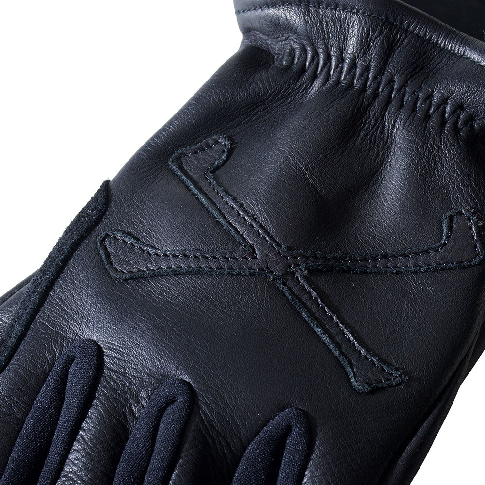 CROSS BONE GLOVE - BLACK x BLACK