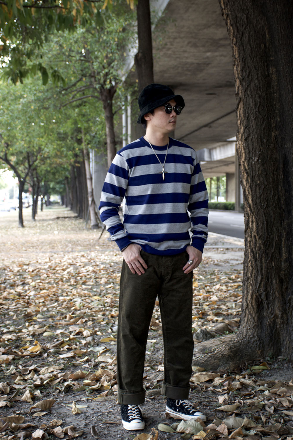 HEAVY BORDER LONG SLEEVES TEE - NVY/H.GRY