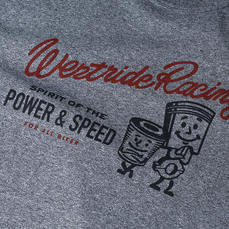 "May club -【WESTRIDE】""POWER AND SPEED PISTON"" TEE - GREY"