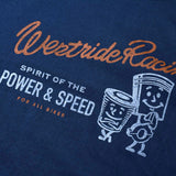 "May club -【WESTRIDE】""POWER AND SPEED PISTON"" TEE - FADE NAVY"