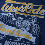 "May club -【WESTRIDE】""MOTOR SPIRIT"" TEE - FADE NAVY"