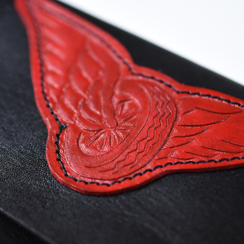 May club -【WESTRIDE】OLD BIKER LEATHER WALLET - RED PATCH