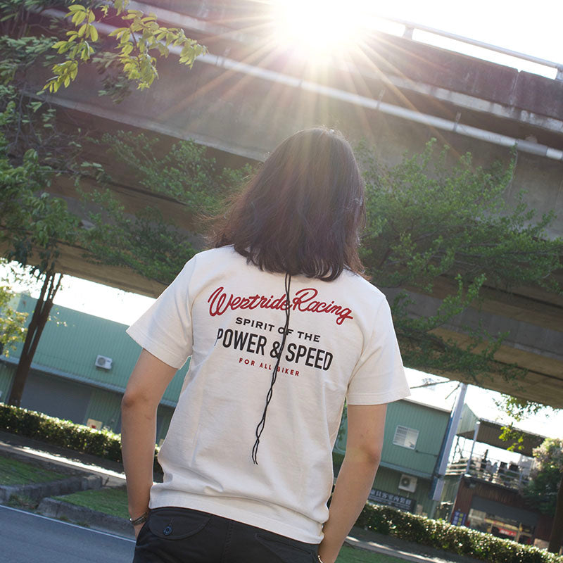 "May club -【WESTRIDE】""POWER AND SPEED PISTON"" TEE - WHITE"