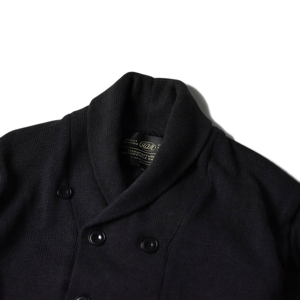 SHAWL COLLAR DOUBLE BREASTED COTTON KNIT