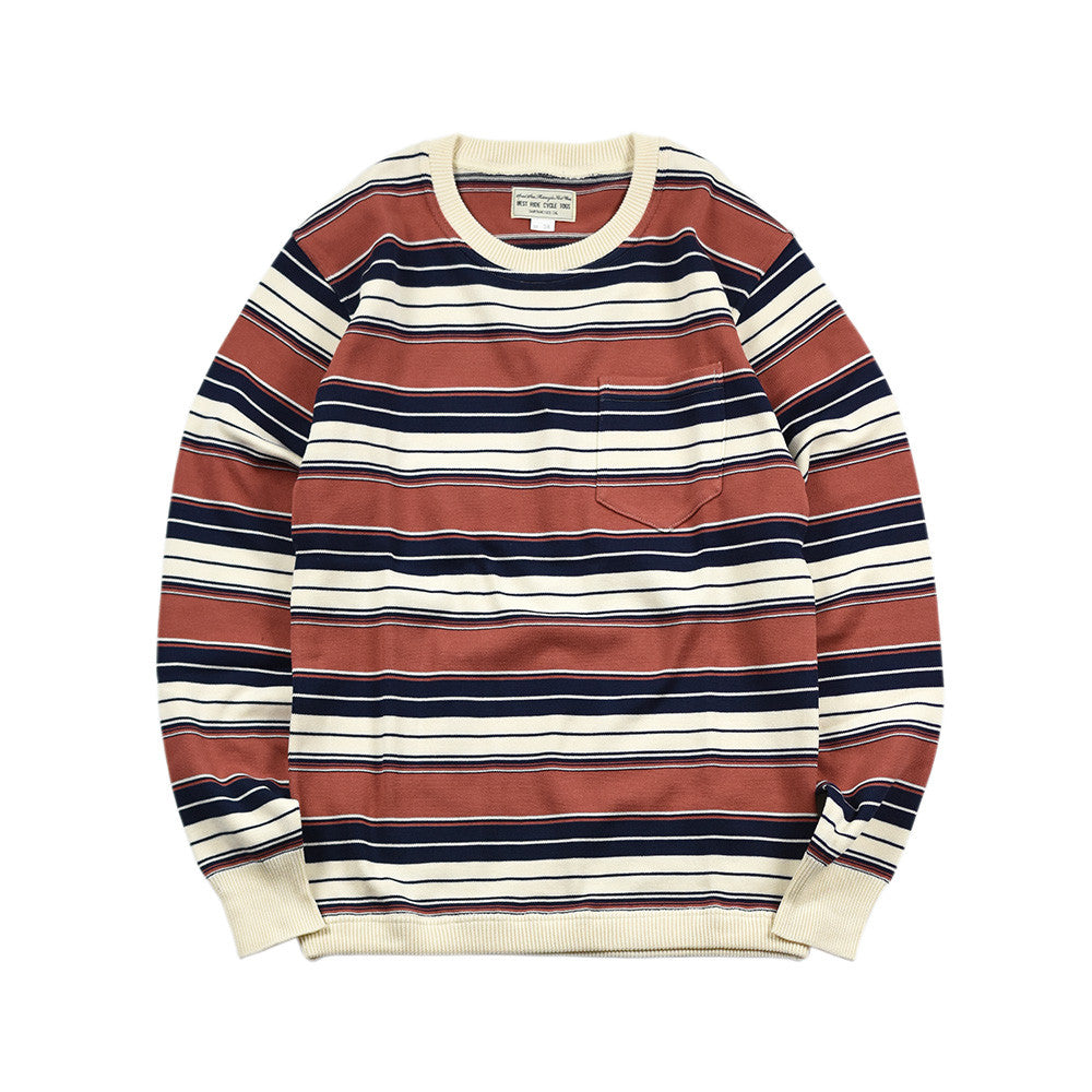 May club -【WESTRIDE】CLASSIC RIB MULTI BORDER L/S SWEATER - NVY/PINK