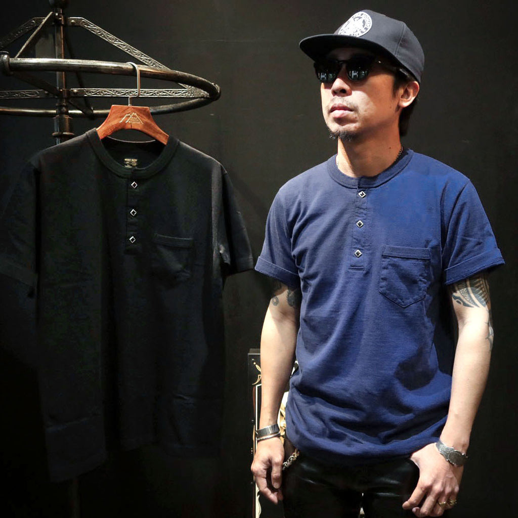 May club -【WESTRIDE】GREEN BOW TEE - FADE NAVY