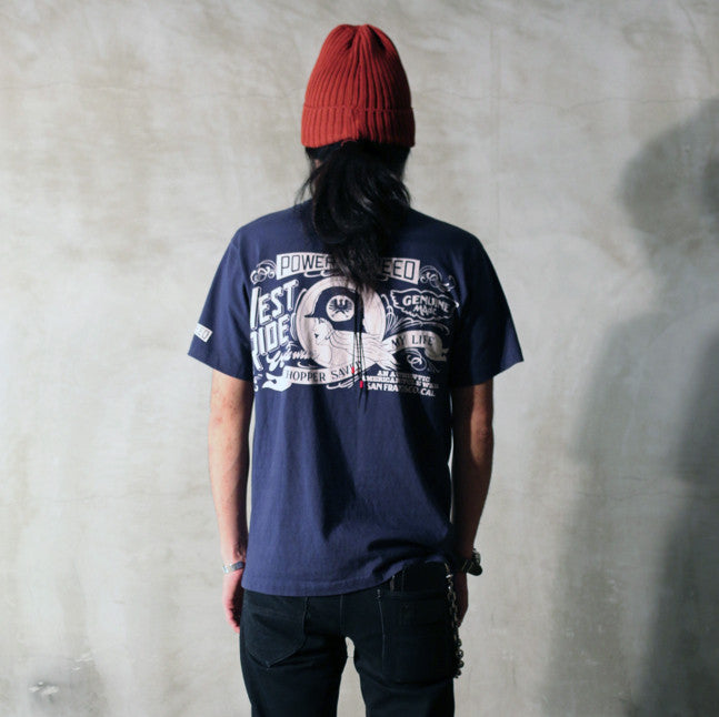 "May club -【WESTRIDE】""POWER AND SPEED"" TEE - NAVY"