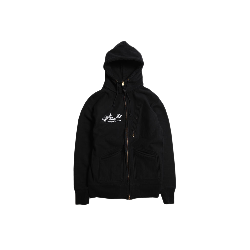 May club -【WESTRIDE】HEAVY WEIGHT FULL ZIP HOODIE - CHECKER FLAG (BLACK)
