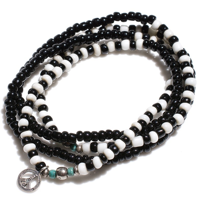 May club -【SunKu】ANTIQUE BLACK & WHITE BEADS LONG NECKLACE