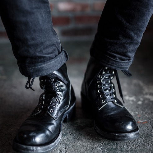 May club -【Addict Clothes】AD-S-02 HORSEHIDE LACE-UP BOOTS - BLACK