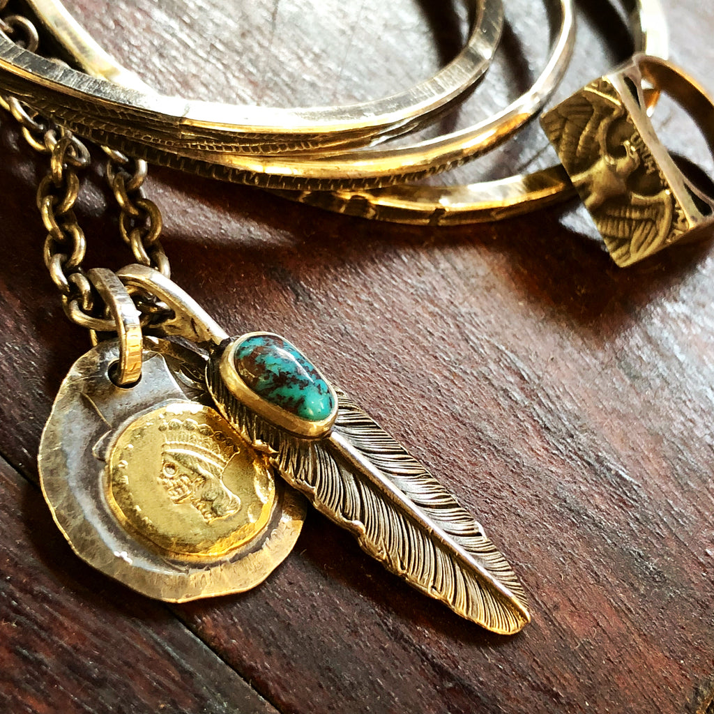 May club -【Chooke】中鷹羽 直向 Silver Dollar Feather with Bisbee Turquoise