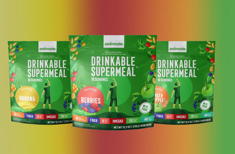 Ambronite Supermeal - 3 x Big Bags: Banana, Berries, Ginger&Apple