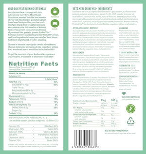 Keto Meal Shake Back Label