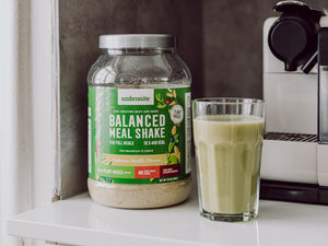 Balanced Meal Shake Tub Vanilla Flavor On The Desk