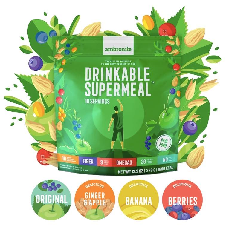 Ambronite Drinkable Supermeal, healthy organic natural vegan meal replacement shake
