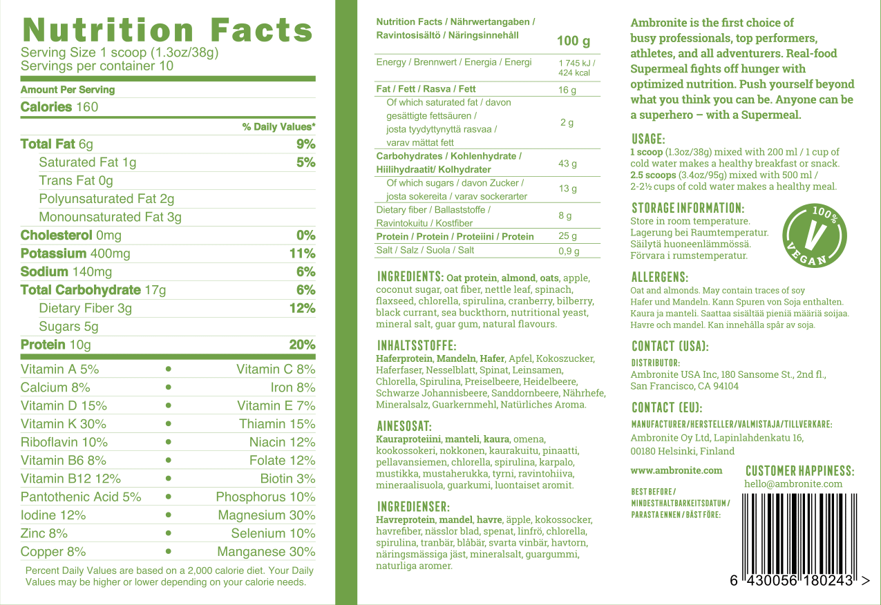 Ambronite nutrition back label