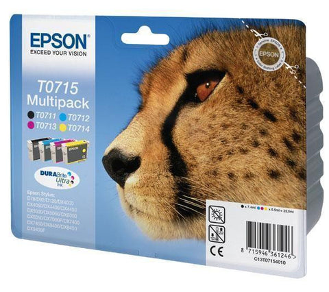 EPSON T0715 Multi-pack with 4 ink cartridges - black, cyan, magenta, yellow - C13T07154010