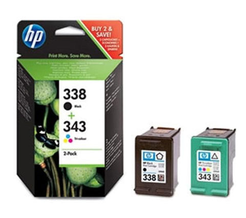 HP Pack of Two 338 (black) and 343 (cyan, magenta, yellow) Ink Cartridges (SD449EE) - SD449EE