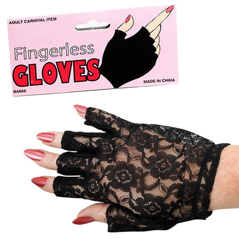 Black lace short finger-less gloves showgirl Victorian western saloon girl 1980's Madonna