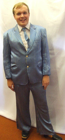 1970s Suit ~ Blue and Gold Stripe ~ fancy dress  ~ 44