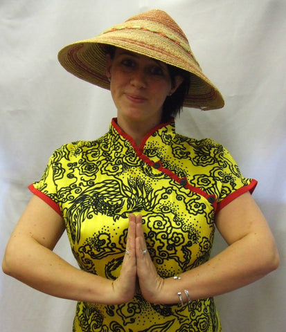 Chinese Paddy Fields ~ Yellow Oriental Costume ~ Hire ~ Size 14
