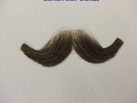 Hand Made Moustache  M10  Small English  38  chestnut / grey mix Human Hair blend