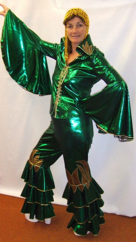 Dancing Queen ~ Green ~   1970s disco  ~ Fancy dress  Hire ~ Size 10 - 12